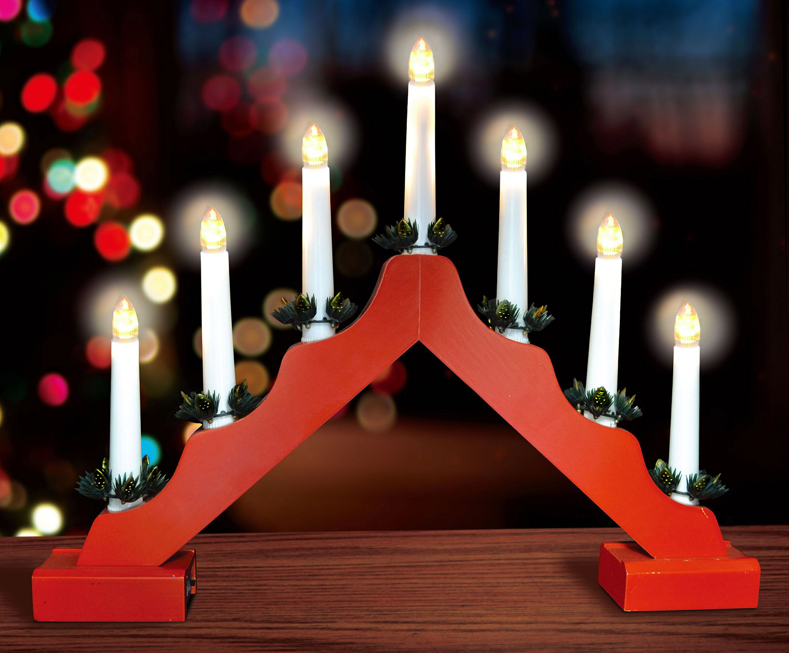 Christmas Concepts Red Wooden Candle Bridge With Warm White LED Lights - Battery Operated