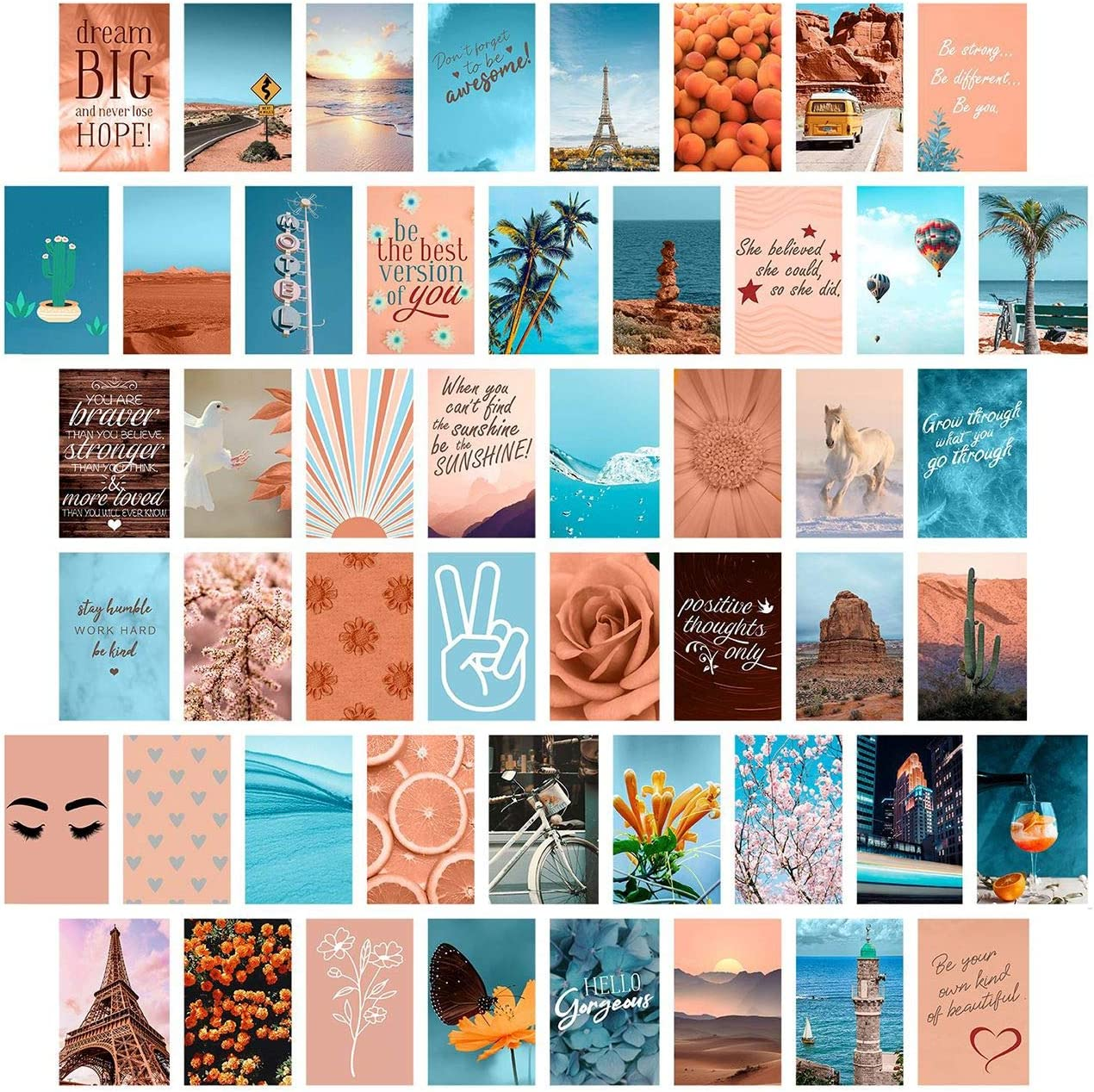 Peach Teal Wall Collage Kit Aesthetic Pictures, Collage Kit for Wall Aesthetic, Aesthetic Pictures for Wall Collage, Room Decor for Teen Girls, Wall Collage Kit, Peach Teal Collage Kit, 50pcs 4x6 inch