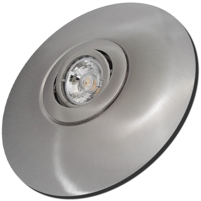 3 Stück MCOB LED Einbaustrahler Big Laura 230 Volt 7 Watt Schwenkbar Edelstahl geb.   Warmweiß