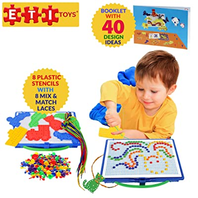 ETI Toys, 368 Piece Lace and Pegs with Board. Design Whale, House, Ship, Bridge, Elephant and More. 100 Percent Safe, Creative Skills Development. Gift, Toy for 3, 4, 5 Year Old Boys and Girls: Toys & Games
