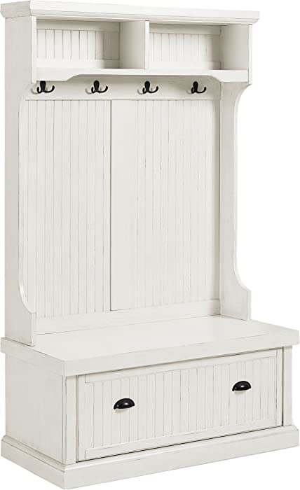 Crosley Furniture Seaside Hall Tree - Distressed White