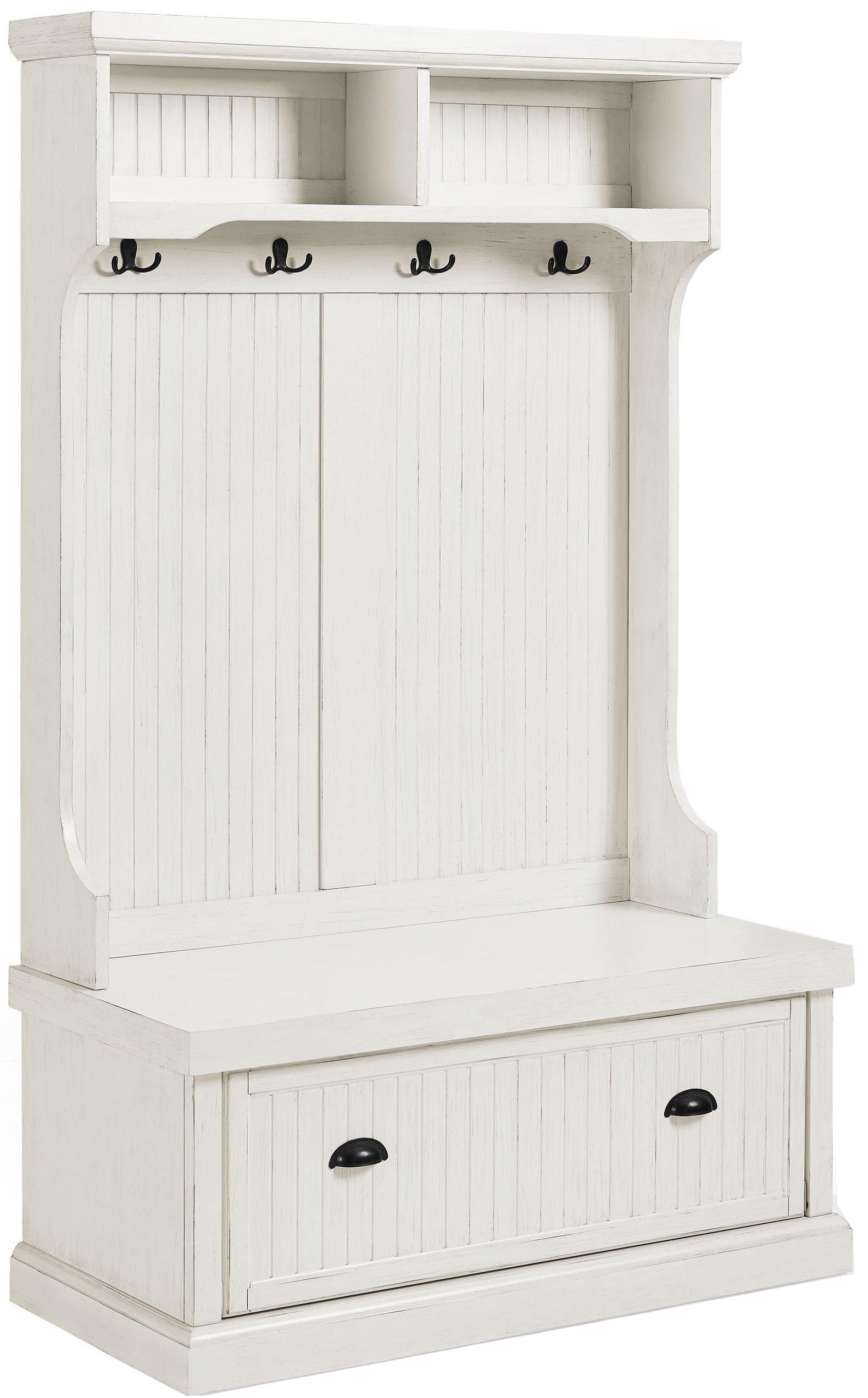 Crosley Furniture Seaside Hall Tree - Distressed White by Crosley Furniture