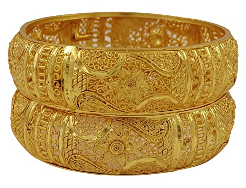 Matra 18K Goldplated indischen Frauen Kada Armreif Set Traditionelle Hochzeit Armband Schmuck 2 * 6