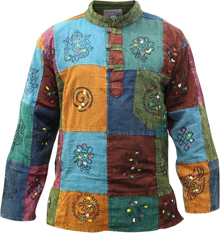 Shopoholic Fashion Camisa para hombre estilo Hippy dise/ño /ácido multicolor