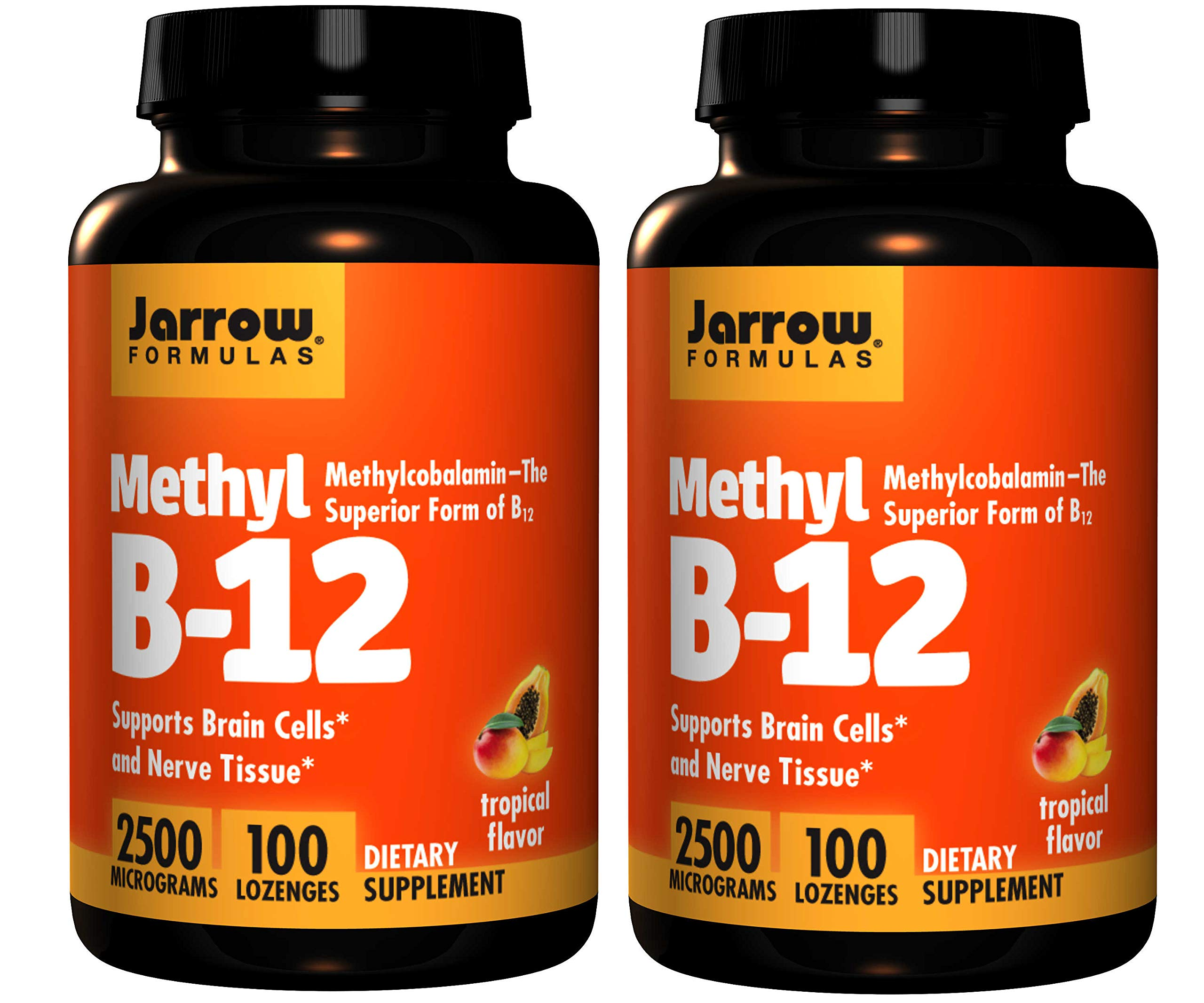 Jarrow Formulas Methyl B-12 Supports Brain Cells and Nerve Tissue 2500 Micrograms Dietary Supplement in Tropical Flavor - 100 Chewable Lozenges (Pack of 2)