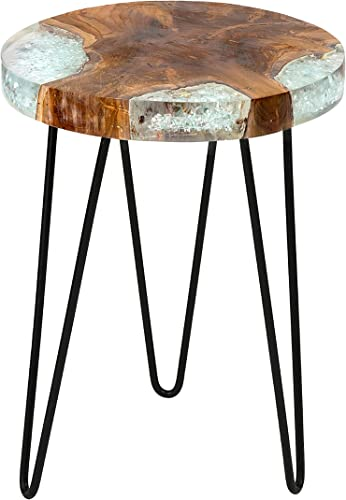 East at Main Beloit Icy Brown Teakwood Square Accent Table, 14 L x 14 W x 19 H