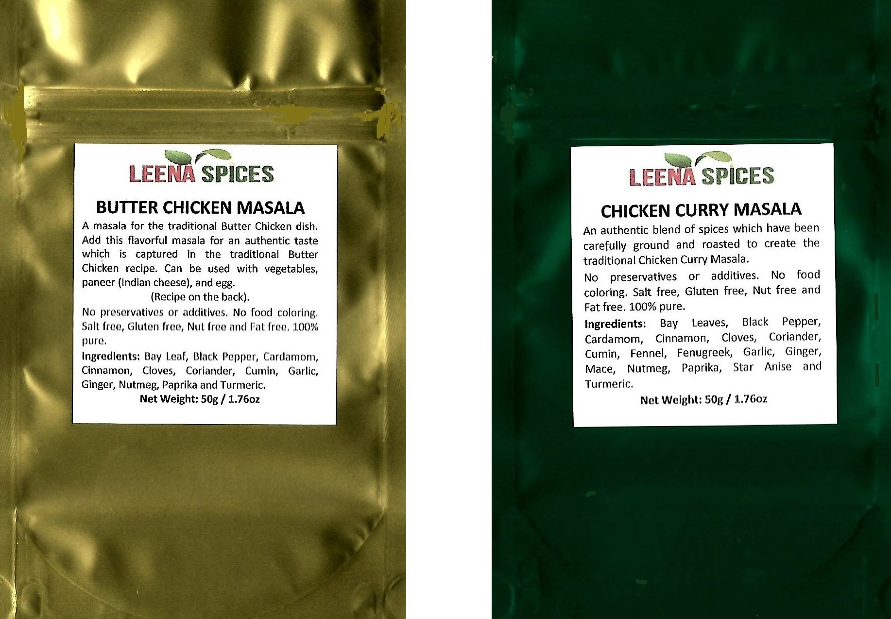 LEENA SPICES – Butter Chicken Seasoning And Chicken Curry Powder – Gluten Free Masala Spice – No Color Mix – With Recipe – Enjoy Quality Indian Food.
