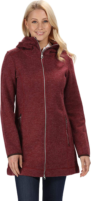 Regatta Womens Ranata Wool Effect Leatherette Trim Long-length Hooded Fleece