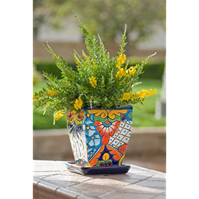 Jayde N' Grey Talavera Hand Painted Ceramic Tall Tapered Plant Pot Planter Indoor Outdoor Garden Use with Drip Dish Flower Vase (Medium (7x7x9), Blue Multi) : Garden & Outdoor