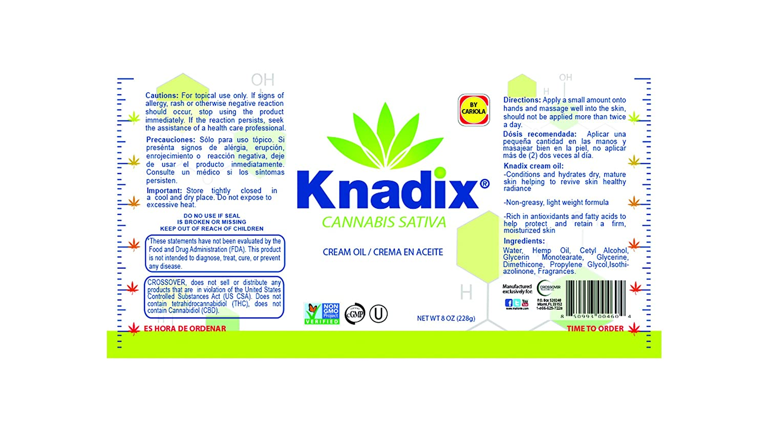 Amazon.com: Knadix Natural -Value Pack- (Hemp Oil Cream & Bottle of 30 capsules): Health & Personal Care