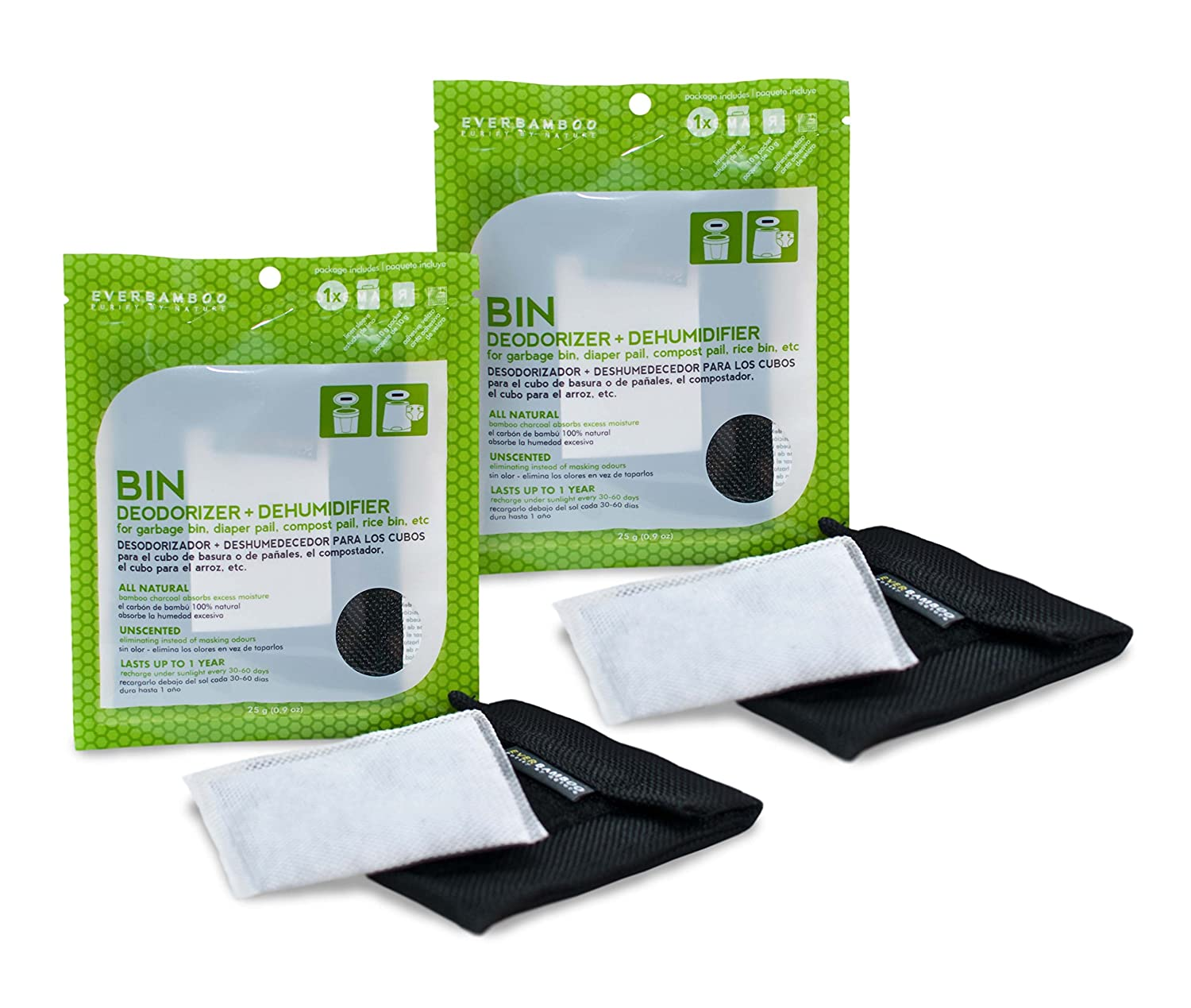 Ever Bamboo Bin Deodorizer Bag Set w/Natural Bamboo Charcoal (25 g)