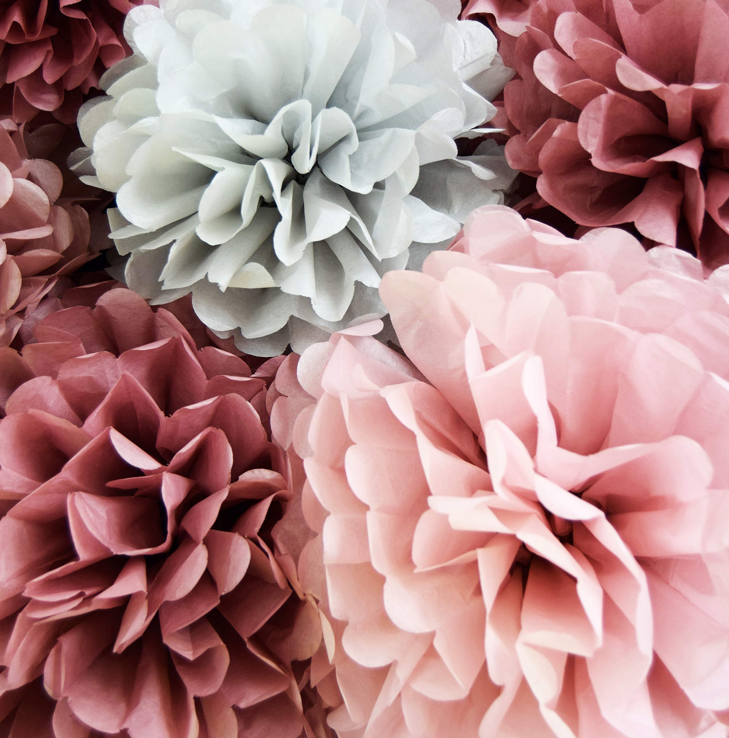 VINANT 20 PCS Tissue Paper Pom Poms - Paper Flower - Party Decoration for Birthday Party - Baby Shower - Bridal Shower - Wedding - Bachelorette - Dusty Rose, Mauve, Blush Pink, Grey - 14'', 10'', 8'', 6'' by VINANT (Image #4)
