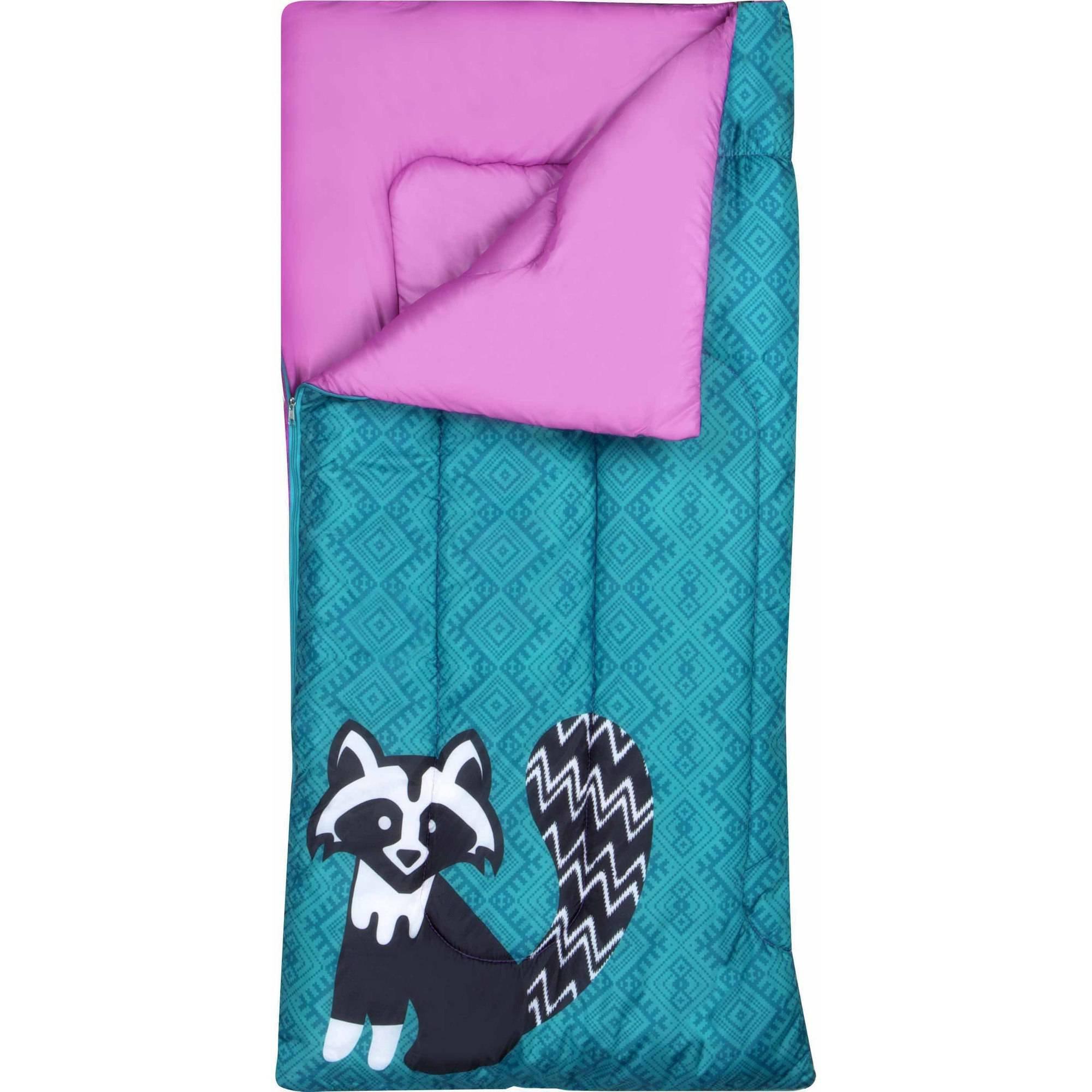 Ozark-Trail Kids Sleeping Bag Camping Indoor Outoor Traveling (Raccoon/Bear) (Purple,Teal)