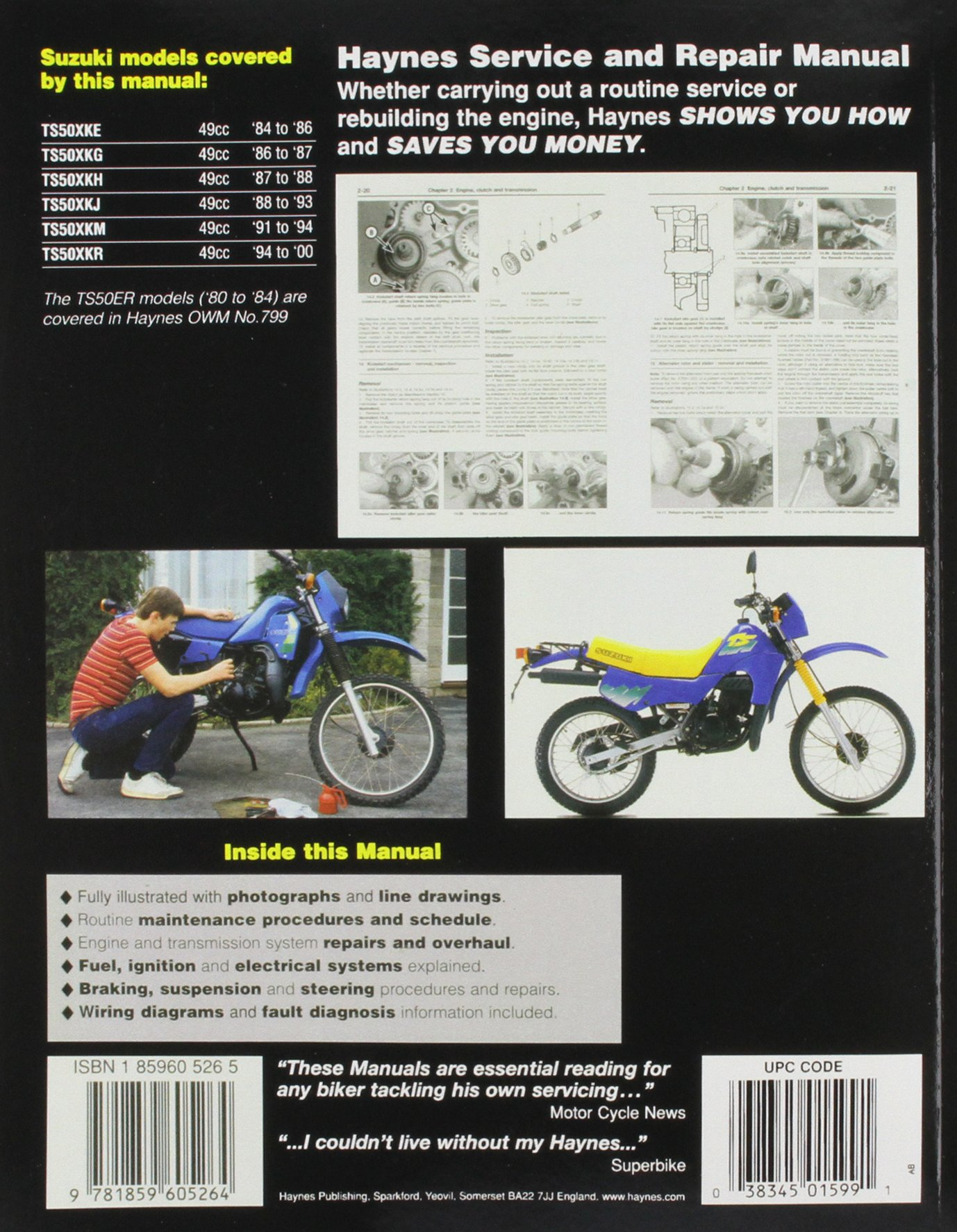 Suzuki TS 50X (1984-99) Service and Repair Manual (Haynes Service and Repair  Manuals): Richard Stone: 9781859605264: Amazon.com: Books