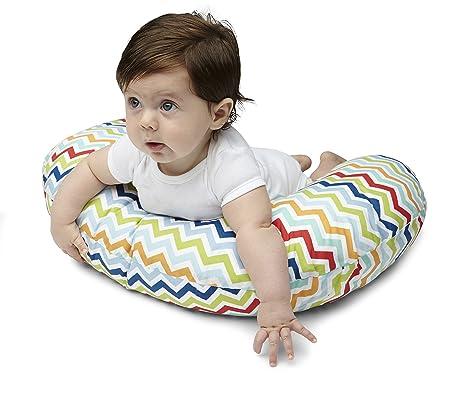 Boppy- Cojín de lactancia algodón, ergonómico, indeformable y optima adaptabilidad, de 0 a 12 meses, rayas multicolor Chevron