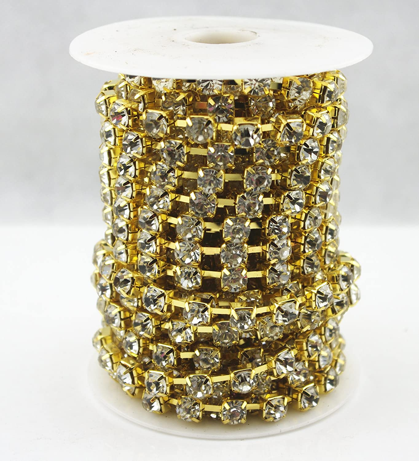 AEAOA 10 Yard Clear Crystal Rhinestone Chain Clear Trim Sewing Craft Cup Chain Party Decoration 4mm, Gold