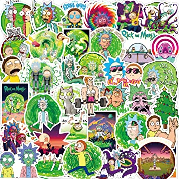 Cartoon Rick and Morty Stickers for Kids 50pcs Pack Waterproof Vinyl Decal for Teen Laptop Skateboard Water Bottle Cool Stickers for Laggage Travel Case Phone Bike
