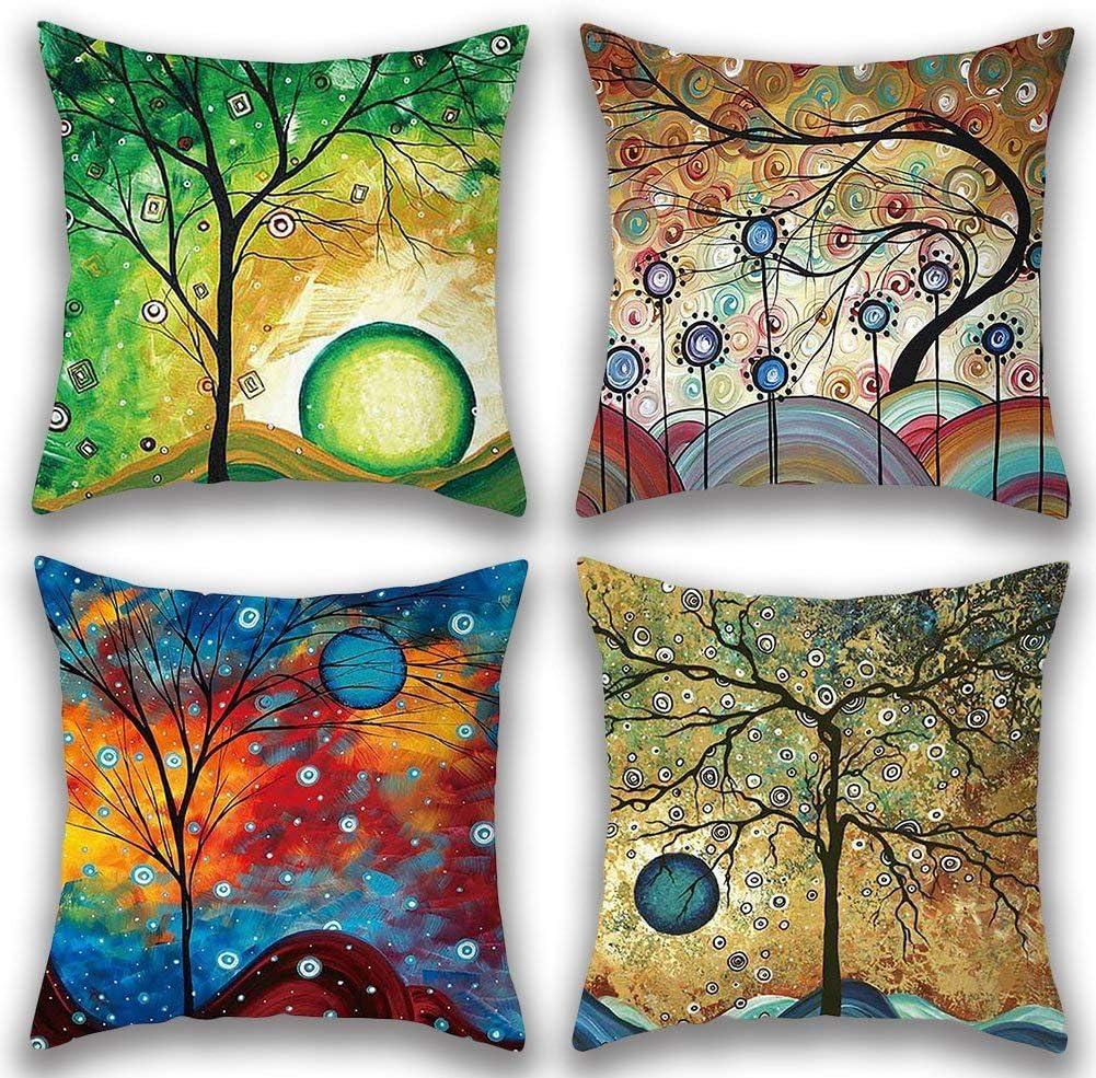 Gspirit 4 Pack Maravilloso Árbol Algodón Lino Throw Pillow Case Funda de Almohada para Cojín 45x45 cm (1): Amazon.es: Hogar