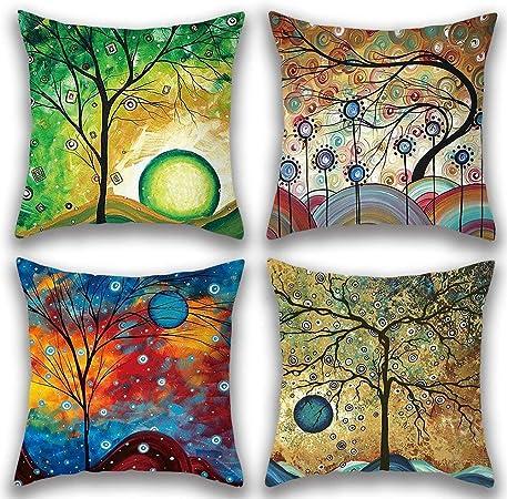 Gspirit 4 Pack Maravilloso Árbol Algodón Lino Throw Pillow Case ...