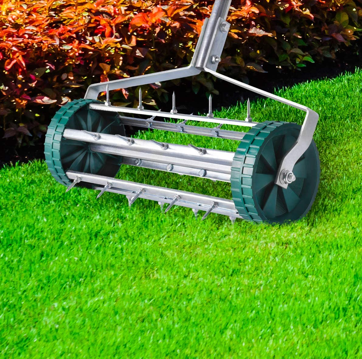 UPP Manual Rolling Lawn Aerator Sturdy /& Durable Garden Roller With Long Spikes and Manual Operation Scarifier Makes Your Lawn Healthier /& Greener