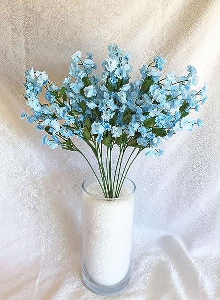 Amazon.com 12 Baby\u0027s Breath LIGHT BLUE Gypsophila Silk