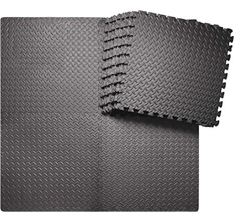 Garneck 4pc Puzzle Exercise Mat with Square EVA Foam Interlocking Tiles Protective Flooring for Gym Equipment and Cushion for Workouts