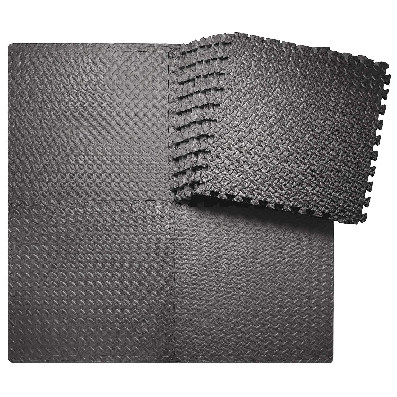 innhom 12 Tiles, 46 SQ. FT Gym Mat Exercise Mat Puzzle Foam Mats Gym Flooring Mat Interlocking Foam Mats with EVA Foam Floor Tiles for Gym Equipment Workout Mat, Black by innhom