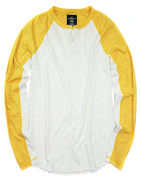 1c591119 American Eagle Men's Long Sleeve Active Flex Henley M-11 (Yellow 106,  XX-Large) at Amazon Men's Clothing store: