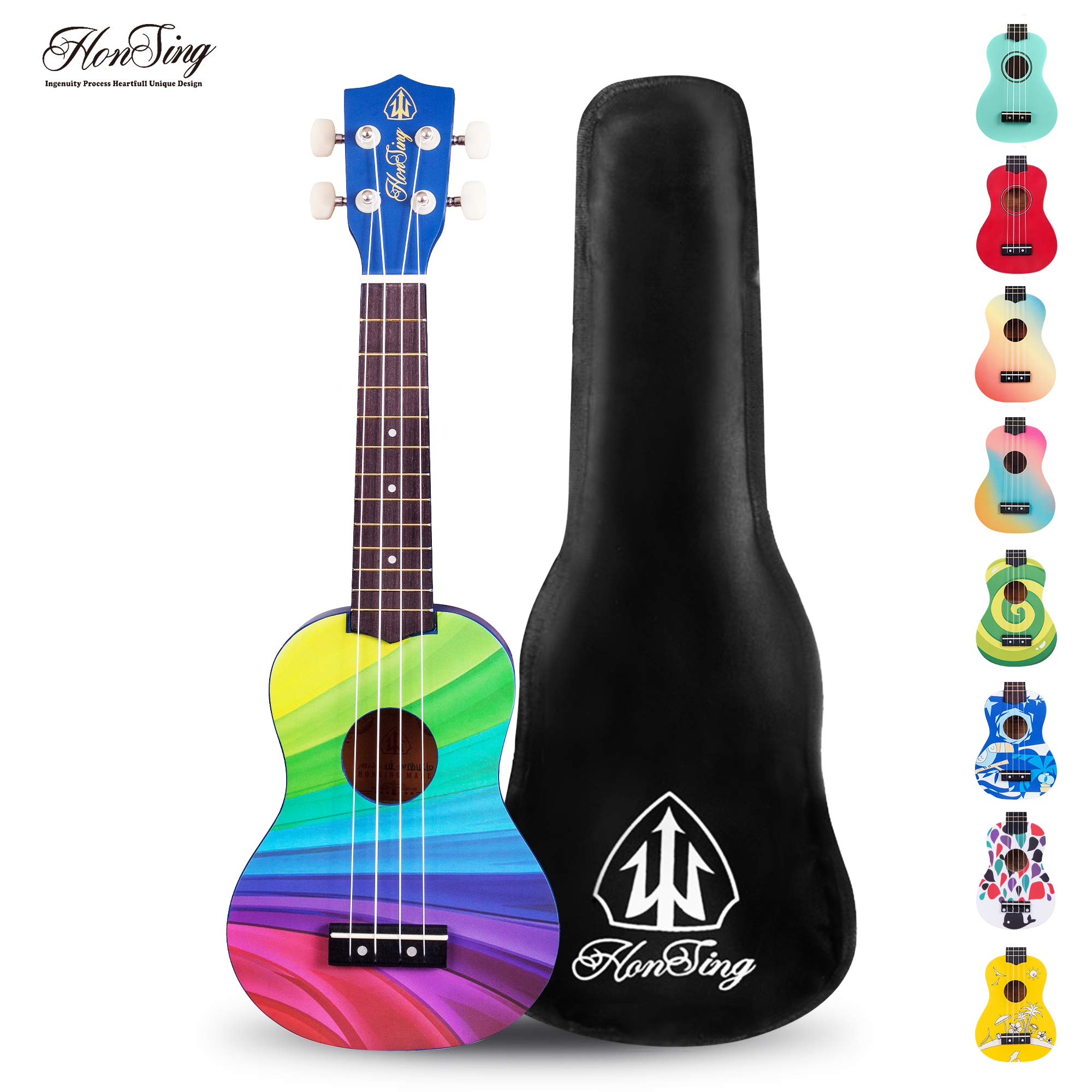 Honsing Soprano Ukulele Beginner Hawaii kids Guitar Uke Basswood 21 inches with Gig Bag- multicolor matte finish by honsing