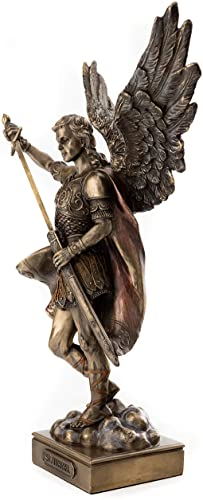 Top Collection Archangel St. Michael Statue- Saint Miguel Peace and Justice Sculpture in Premium Cold Cast Bronze-13.5-Inch Collectible Ancient Roman Figurine