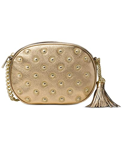 4965b91deaf9 Image Unavailable. Image not available for. Color  MICHAEL Michael Kors  Ginny Studded Medium Messenger Pale Gold