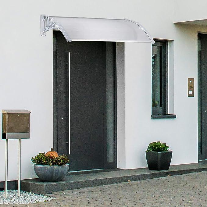 Relaxdays Marquesina toldo Techo para Puertas protección, plástico, Aluminio, 150 x 100 cm, tejado, Transparente, 100x150x28 cm: Amazon.es: Jardín