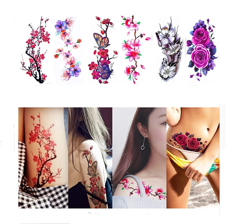 hb566 Cherry Blossom Sakura flores pájaros temporal cuerpo brazo ...