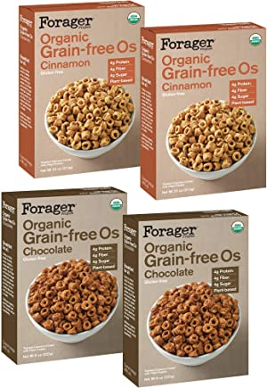 Forager Project Organic Gluten-Free Breakfast Cereal, 4 Pack Variety - Low Sugar, 4g of Protein, Vegan (2x Chocolate, 2x Cinnamon)