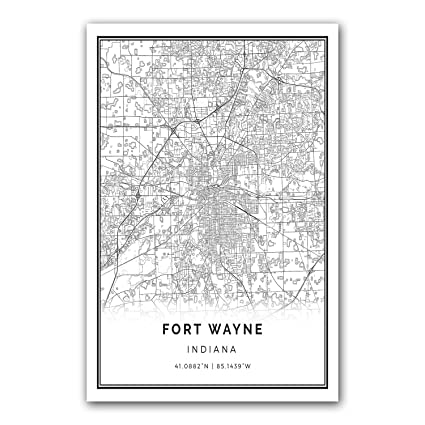 Fort wayne map poster print modern black and white wall art scandinavian home decor