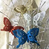 Craft Butterflies - Glitter Butterfly Clip On - Pack of 12 Butterflies - Assorted Colors of Blue Glitter, Red Glitter, Silver Glitter and Gold Glitter - Butterfly Decorations