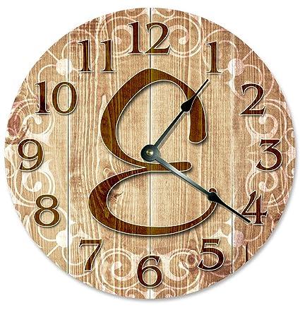 Amazon.com: Sugar Vine Art LETTER E MONOGRAM CLOCK Decorative Round ...