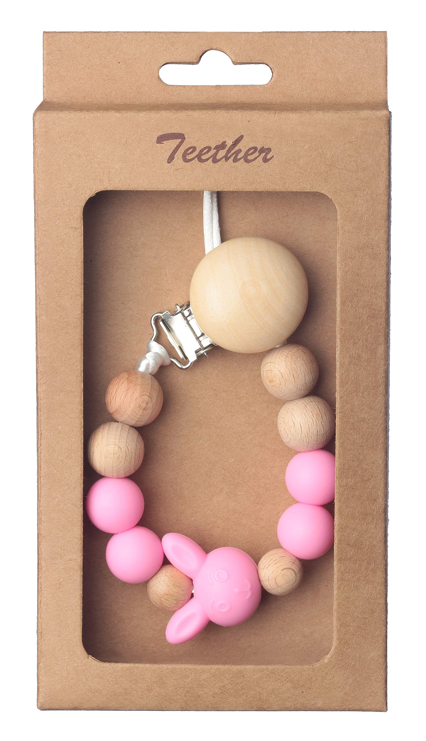 Beebeez Pacifier Clip for Baby Teething Silicone, Wood Beads with Silicone Bunny 2-in-1 Holder for Newborn - Infant Baby Shower Gift - Best for Teether Toys HOT Pink by Beebeez