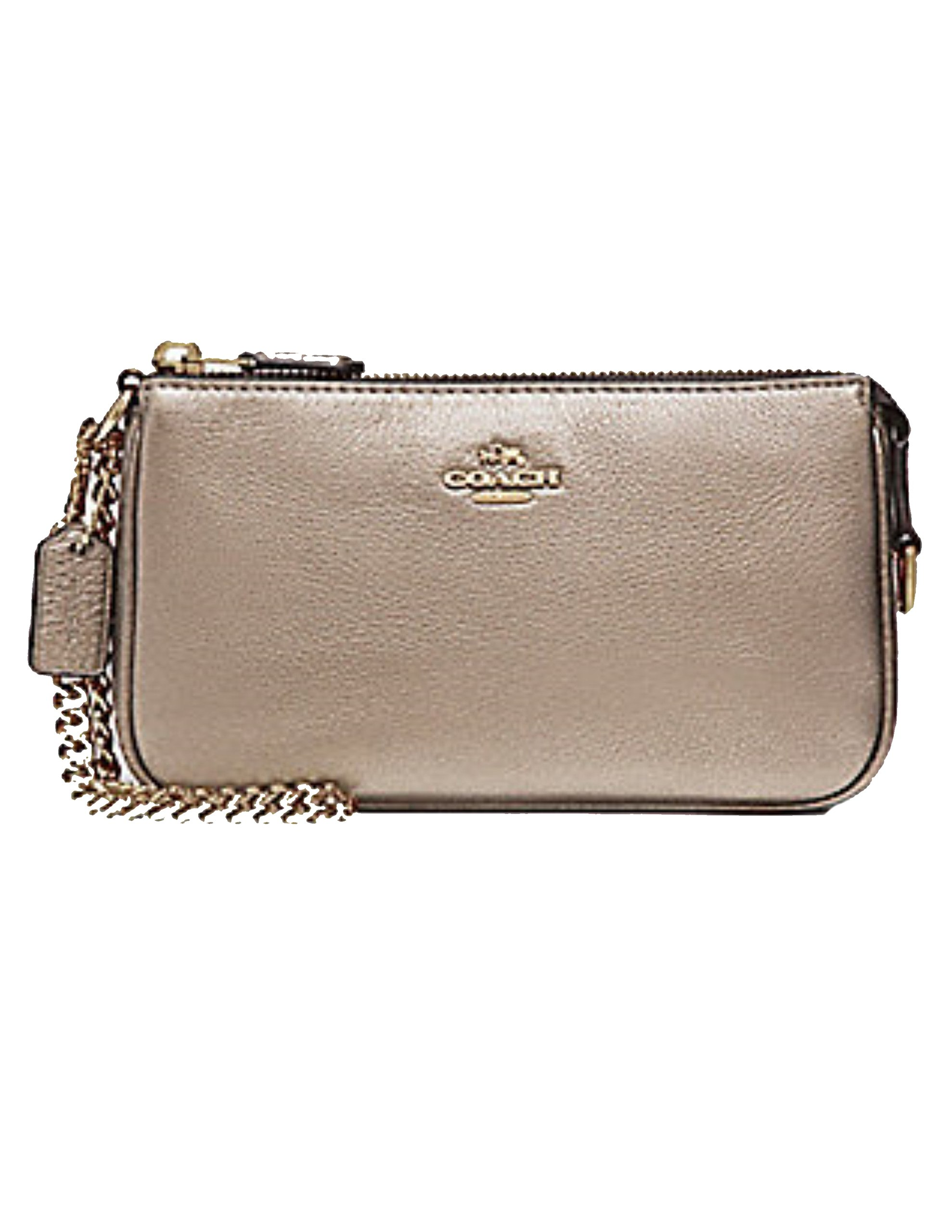 LARGE WRISTLET 19 IN METALLIC PEBBLE LEATHER (COACH F20151) PLATINUM by Coach