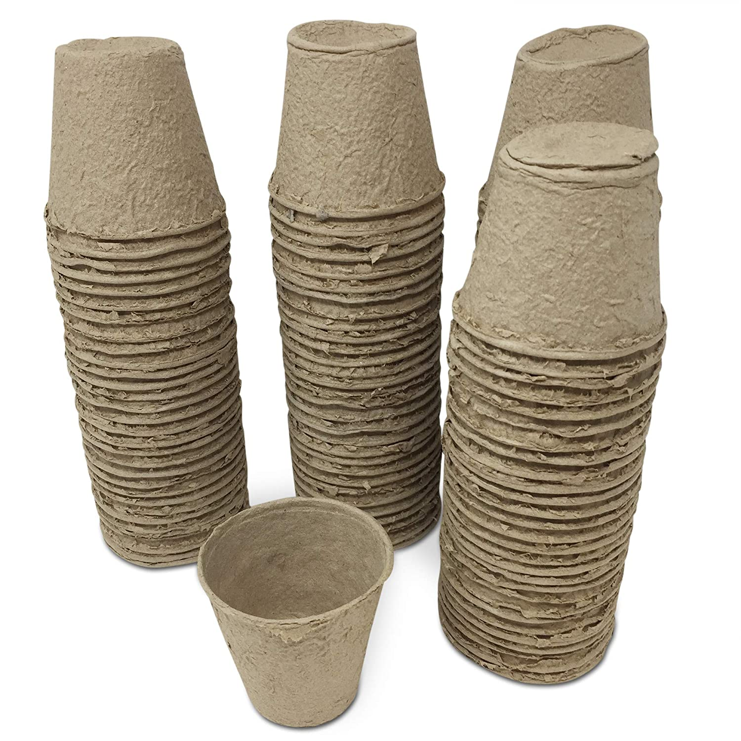 Grown Your Own Set of 120 Round 8cm Fibre Plant Seedling Pots Biodegradable