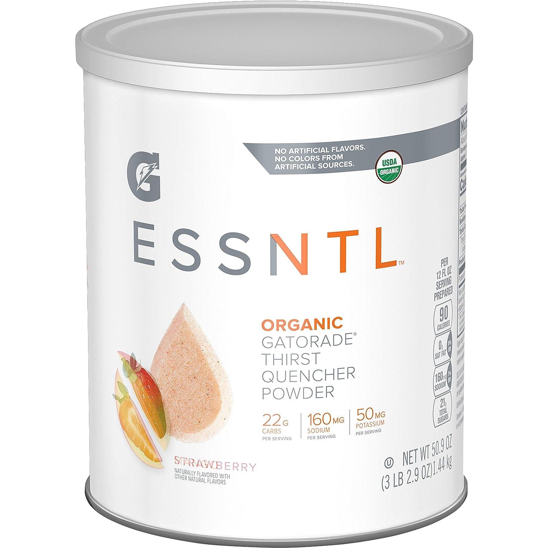 G ESSNTL Organic Gatorade Thirst Quencher Powder, Strawberry, 50.9oz Canister (Pack of 3)