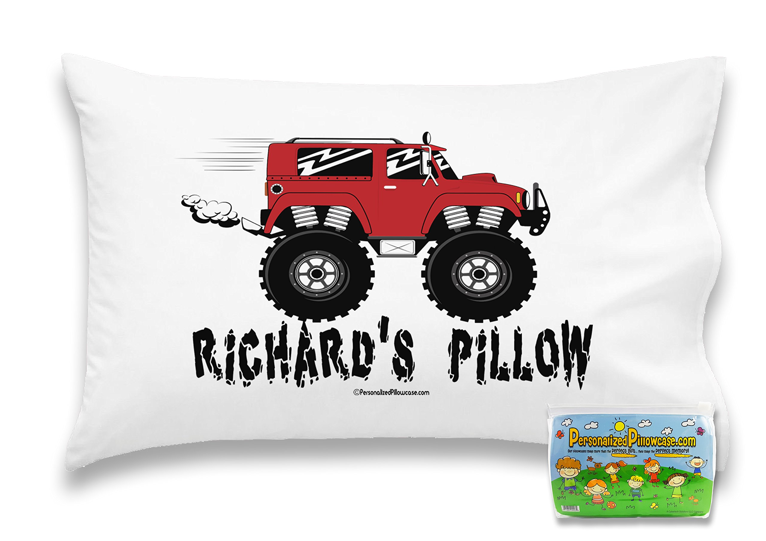 Customizable, ''Monster Trucks'' Pillowcase. Personalized With Your Child's Name - Perfect Gift For Boys Or Girls Of All Ages! (Toddler 14''X21'')