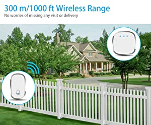 Wireless Doorbell, Govee Waterproof Door Bell Chime Kit with LED Flash by Minger, 1 Push Button and 1 Plug-in Receiver, 1000 Feet Operating Range, 4 Levels Volume, 36 Melodies to Choose, White (Color: White, Tamaño: 1 Receiver)