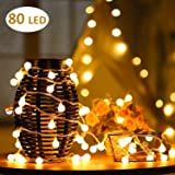 Cookey Ball String Lights - 80 Balls 10m Globe Fairy Light - Perfect for Indoor, Outdoor, Garden, Chrismas Tree, Party, Festival, Wedding Decoration(Warm White)