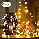 Cookey Ball Luci Della Stringa - 80 Piccola Lampadina 12m USB Operated Globe Fata Luce - Ideale per Interni, Esterni, Giardino, Albero di Natale, Partito, Festival, Decorazione Wedding (Bianco Caldo)