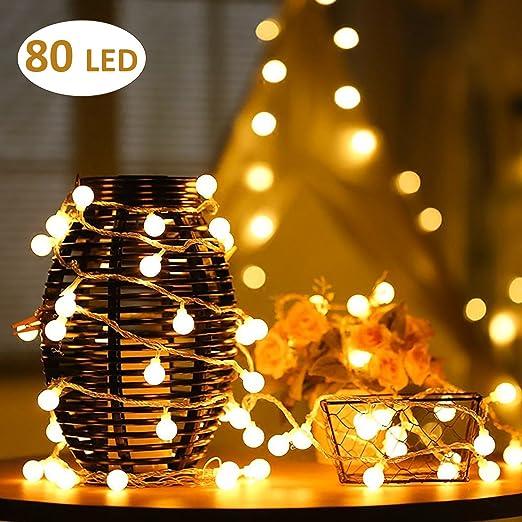 Aookey Led Guirlande Lumineuse 10m 80 Ampoules Led A Piles Petites