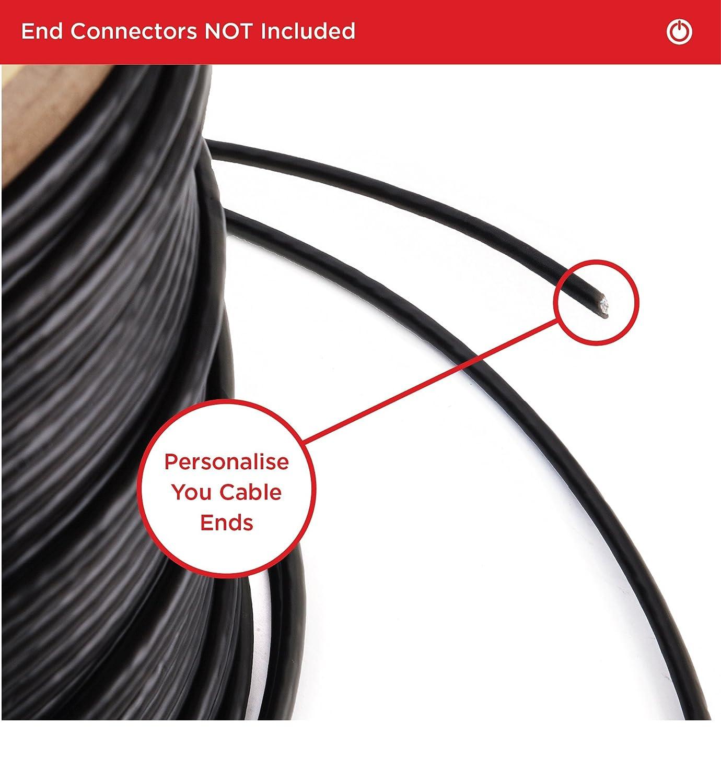 Duronic Cable CAT6a Bobina 200m /BK Red Ethernet Rj45 FTP 500MHz Cabezales Recubiertos en Oro Cable Panel de Conexiones, Conmutador, Roúter, Módem, ...