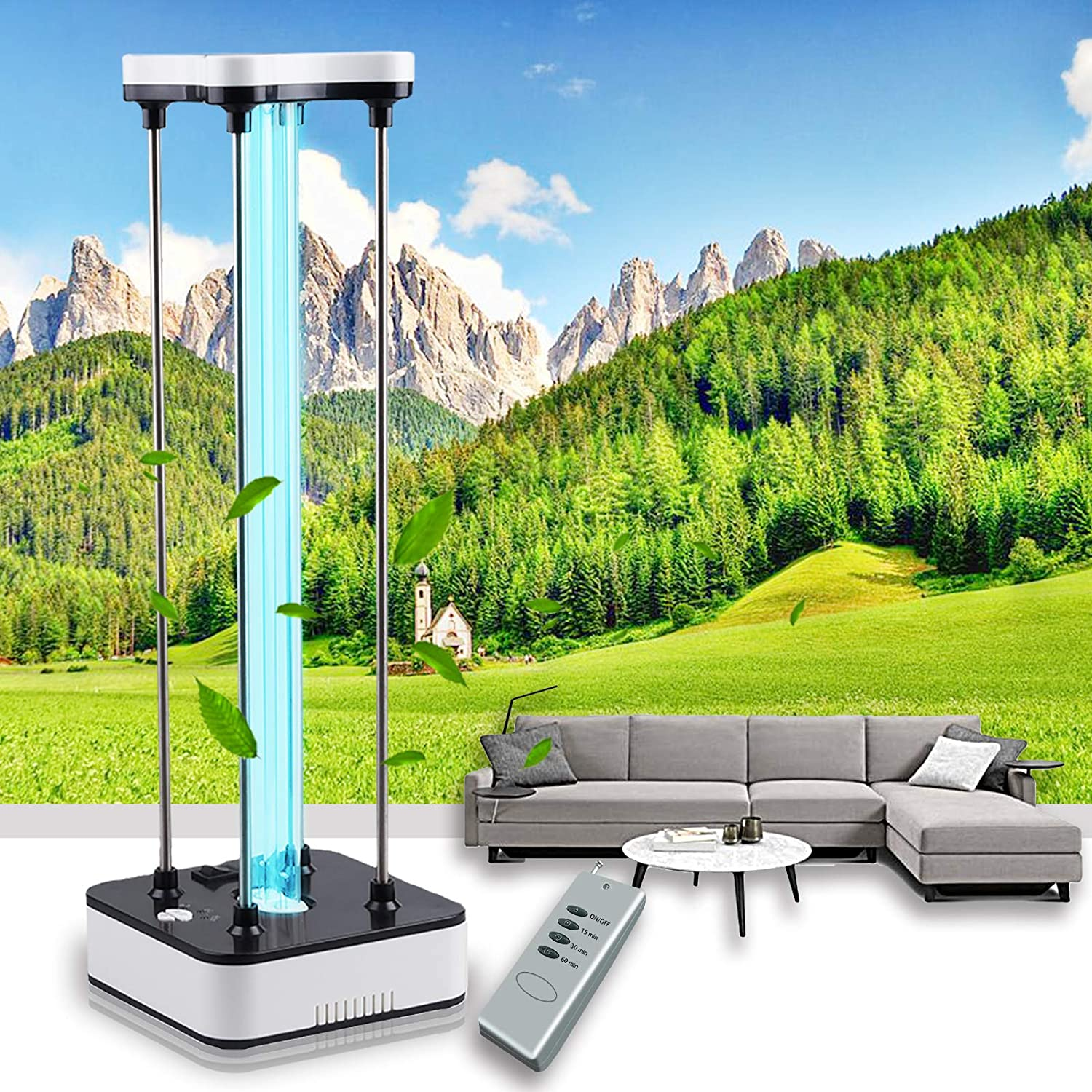 BEWITU 36W UVC Light UV Germicidal Lamp with Ozone UV Room Sanitizer with 15s Delay Time Remote Controller for Car Living Room Bedroom Household Kitchen Hotel Pet Area