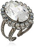 Sorrelli White Bridal Glamorous Oval-Cut Crystal Adjustable Ring