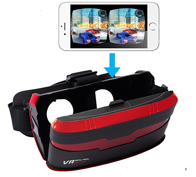 VR Real Feel Virtual Reality Car Racing Gaming System with Bluetooth Steering Wheel and Headset Goggles Viewer Glasses for iOS iPhone and Android